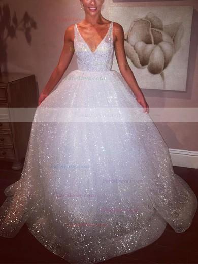 Princess V-neck Glitter Floor-length Prom Dresses #Favs020106524