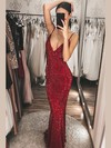 Trumpet/Mermaid V-neck Sequined Floor-length Prom Dresses #Favs020106525
