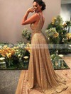 A-line V-neck Shimmer Crepe Sweep Train Beading Prom Dresses #Favs020106526