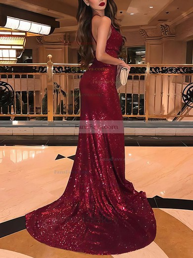 Trumpet/Mermaid Cowl Neck Sequined Sweep Train Split Front Prom Dresses #Favs020106529