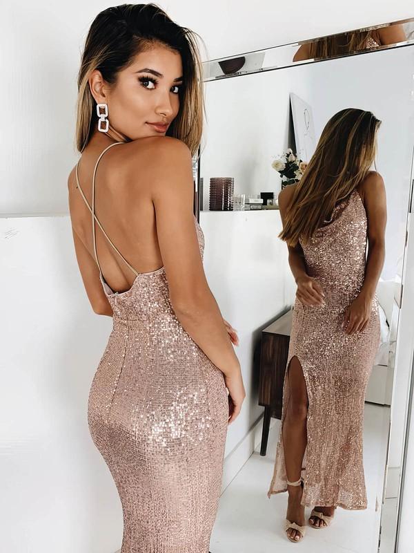 Sheath/Column Cowl Neck Sequined Ankle-length Split Front Prom Dresses #Favs020106531