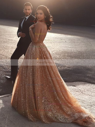 Princess V-neck Glitter Sweep Train Prom Dresses #Favs020106532