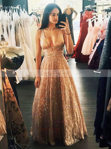Princess V-neck Glitter Floor-length Beading Prom Dresses #Favs020106533