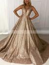 Ball Gown V-neck Glitter Sweep Train Prom Dresses #Favs020106536