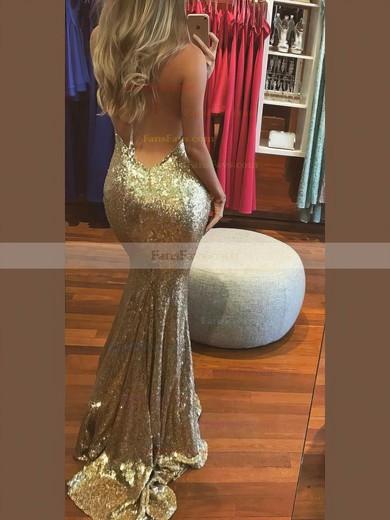 Trumpet/Mermaid Halter Sequined Sweep Train Prom Dresses #Favs020106537