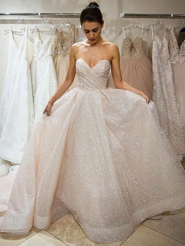 Princess Sweetheart Glitter Court Train Prom Dresses #Favs020106540