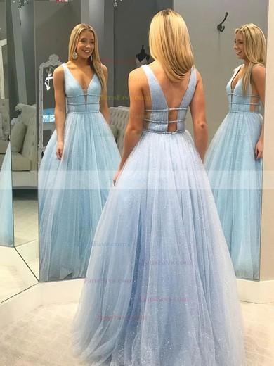 Princess V-neck Glitter Floor-length Beading Prom Dresses #Favs020106542