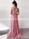A-line Sweetheart Glitter Floor-length Beading Prom Dresses #Favs020106544