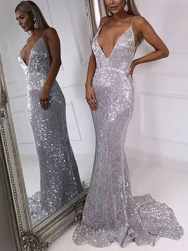 Trumpet/Mermaid V-neck Sequined Sweep Train Prom Dresses #Favs020106546