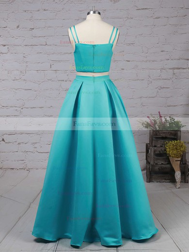A-line Square Neckline Satin Sweep Train Pockets Prom Dresses #Favs020102754