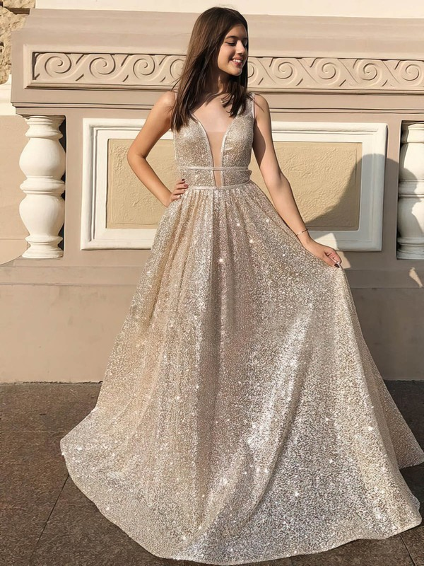 Princess V-neck Sequined Floor-length Prom Dresses #Favs020106548