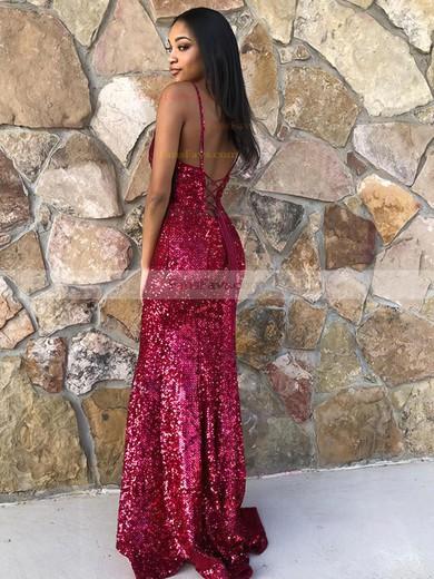 Trumpet/Mermaid V-neck Sequined Floor-length Prom Dresses #Favs020106549