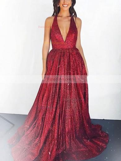 A-line Halter Shimmer Crepe Floor-length Prom Dresses #Favs020106550