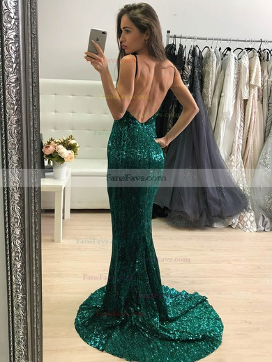 Trumpet/Mermaid V-neck Sequined Sweep Train Prom Dresses #Favs020106551