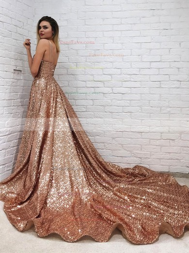 Princess V-neck Sequined Court Train Prom Dresses #Favs020106552