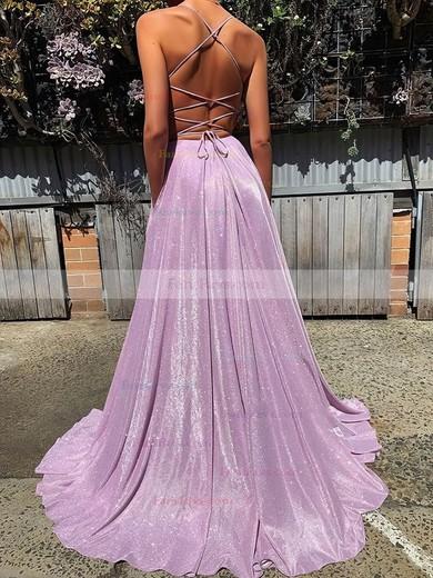 A-line V-neck Shimmer Crepe Sweep Train Pockets Prom Dresses #Favs020106554