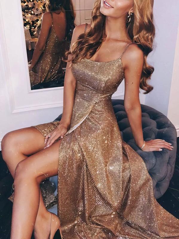 Sheath/Column Square Neckline Shimmer Crepe Floor-length Split Front Prom Dresses #Favs020106555