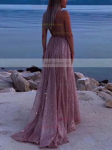A-line V-neck Glitter Sweep Train Ruffles Prom Dresses #Favs020106556