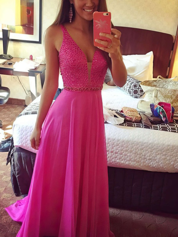 A-line V-neck Sweep Train Chiffon Prom Dresses with Beading #Favs020102765