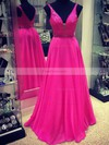 A-line V-neck Chiffon Sweep Train Beading Prom Dresses #Favs020102765