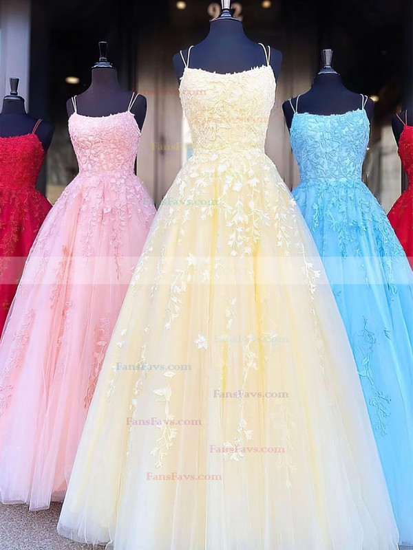 Princess Scoop Neck Tulle Sweep Train Appliques Lace Prom Dresses #Favs020106558