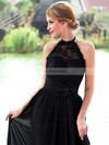 A-line Halter Chiffon Floor-length Lace Prom Dresses #Favs020102836