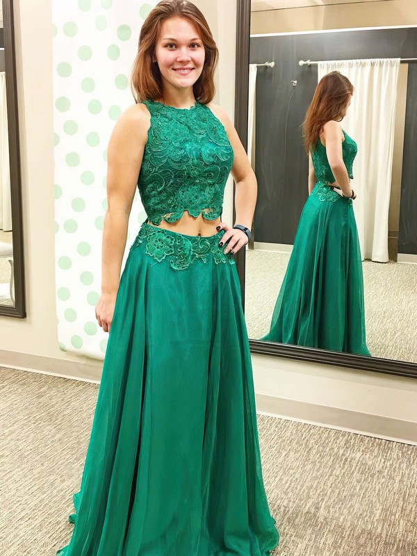 A-line Scoop Neck Chiffon Floor-length Appliques Lace Prom Dresses #Favs020102874