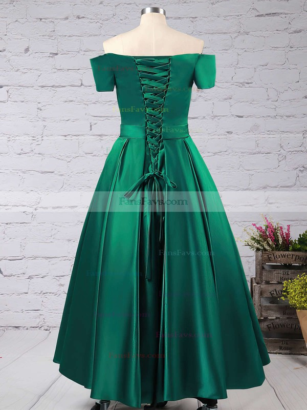 A-line Off-the-shoulder Satin Floor-length Sashes / Ribbons Prom Dresses #Favs020102879