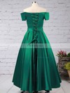A-line Off-the-shoulder Floor-length Satin Prom Dresses with Sashes #Favs020102879
