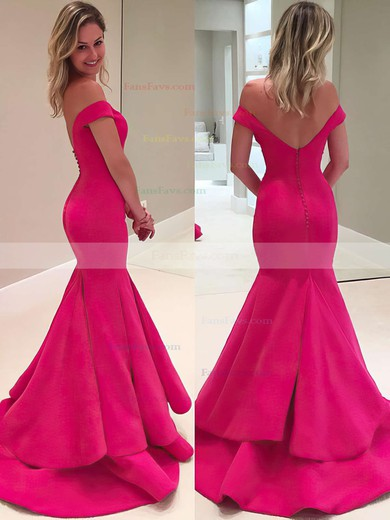 Trumpet/Mermaid Off-the-shoulder Sweep Train Satin Prom Dresses #Favs020102917