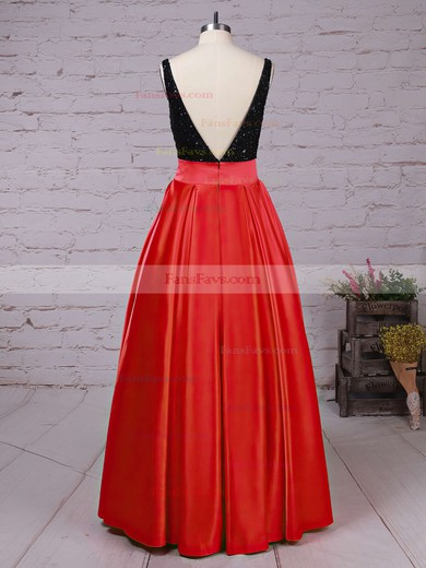 Princess Scoop Neck Satin Sweep Train Beading Prom Dresses #Favs020102999