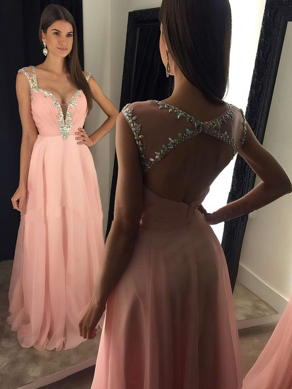 A-line V-neck Floor-length Tulle Chiffon Prom Dresses with Beading Ruffle #Favs020103021