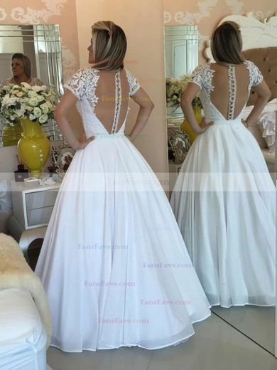 Princess V-neck Floor-length Chiffon Prom Dresses with Lace Sashes #Favs020103257
