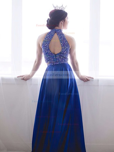 A-line High Neck Satin Sweep Train Beading Prom Dresses #Favs020103284
