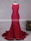 Trumpet/Mermaid Scoop Neck Court Train Jersey Prom Dresses with Ruffle #Favs020102318