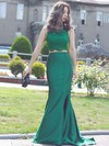 Trumpet/Mermaid Scoop Neck Lace Satin Sweep Train Beading Prom Dresses #Favs020103296