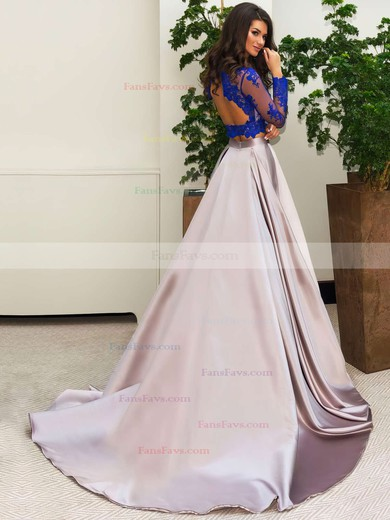 Ball Gown Scalloped Neck Satin Tulle Sweep Train Appliques Lace Prom Dresses #Favs020103307