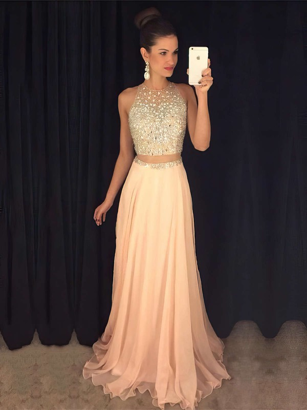 A-line Scoop Neck Sweep Train Chiffon Tulle Prom Dresses with Beading #Favs020103435