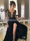 A-line Scoop Neck Chiffon Floor-length Appliques Lace Prom Dresses #Favs020103456