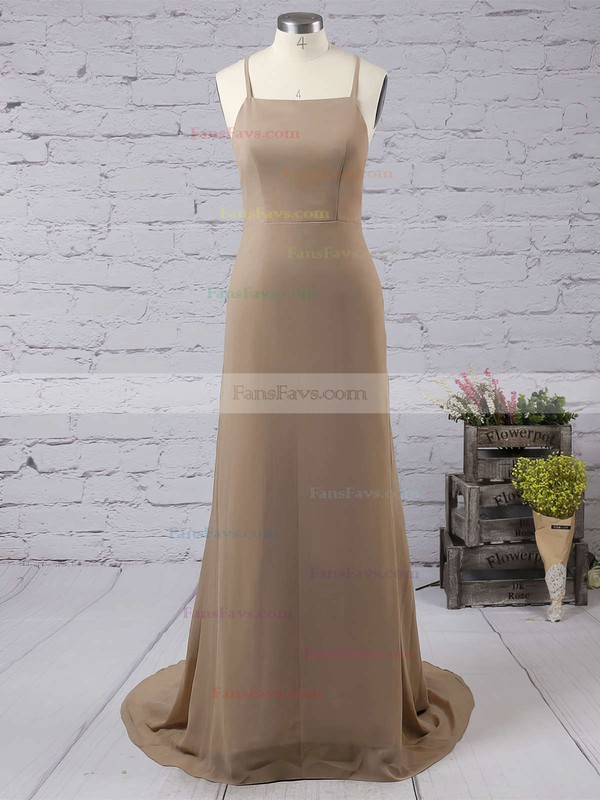 Sheath/Column Square Neckline Chiffon Floor-length Prom Dresses #Favs020103498