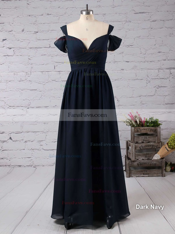 Empire V-neck Chiffon Floor-length Ruffles Prom Dresses #Favs020103506