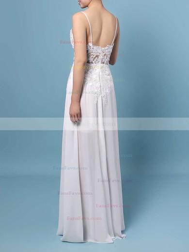 A-line V-neck Floor-length Chiffon Prom Dresses with Appliques Lace Split Front #Favs020103508