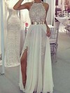 Sheath/Column Halter Floor-length Lace Chiffon Prom Dresses with Sashes Split Front #Favs020103515