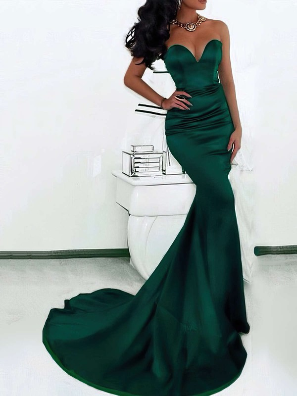 Trumpet/Mermaid Sweetheart Sweep Train Satin Prom Dresses with Ruffle #Favs020103517