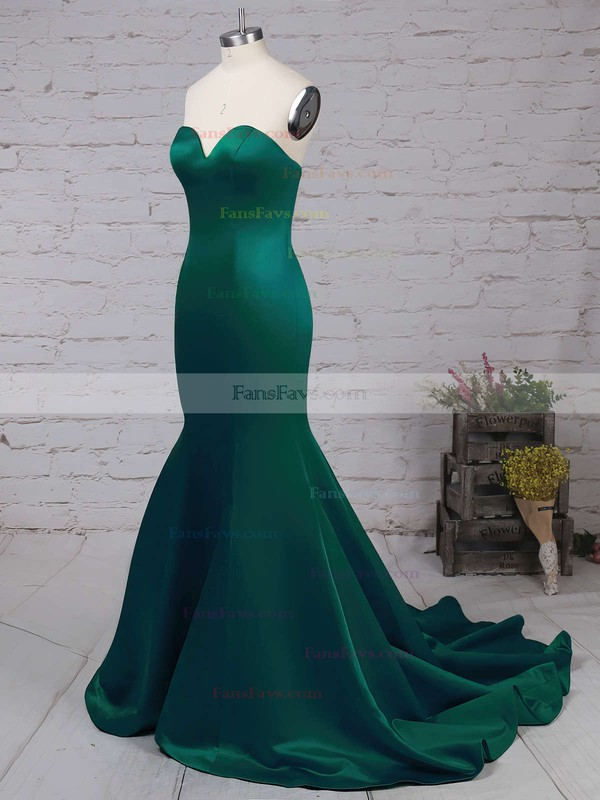 Trumpet/Mermaid Sweetheart Sweep Train Satin Prom Dresses with Ruffle #Favs020103517