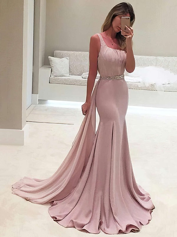Trumpet/Mermaid One Shoulder Chiffon Sweep Train Beading Prom Dresses #Favs020103518