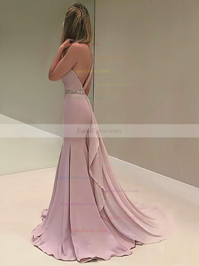 Trumpet/Mermaid One Shoulder Sweep Train Chiffon Prom Dresses with Beading #Favs020103518