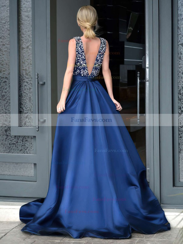 A-line V-neck Sweep Train Satin Prom Dresses with Beading #Favs020103534