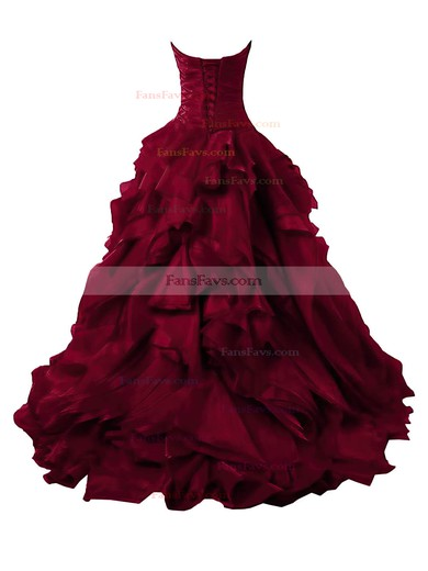Ball Gown Sweetheart Sweep Train Organza Prom Dresses with Ruffle #Favs020103541