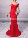 Sheath/Column Off-the-shoulder Sweep Train Silk-like Satin Prom Dresses with Ruffle #Favs020102332
